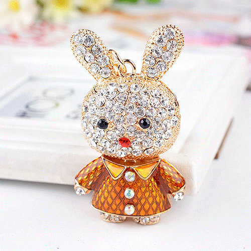 Hot Creative Animal Design Keyrings Gold Plated Rhinestone Lovely Rabbit Bunny Keychains For Women Bag Jewelry Free Shipping<br><br>Aliexpress