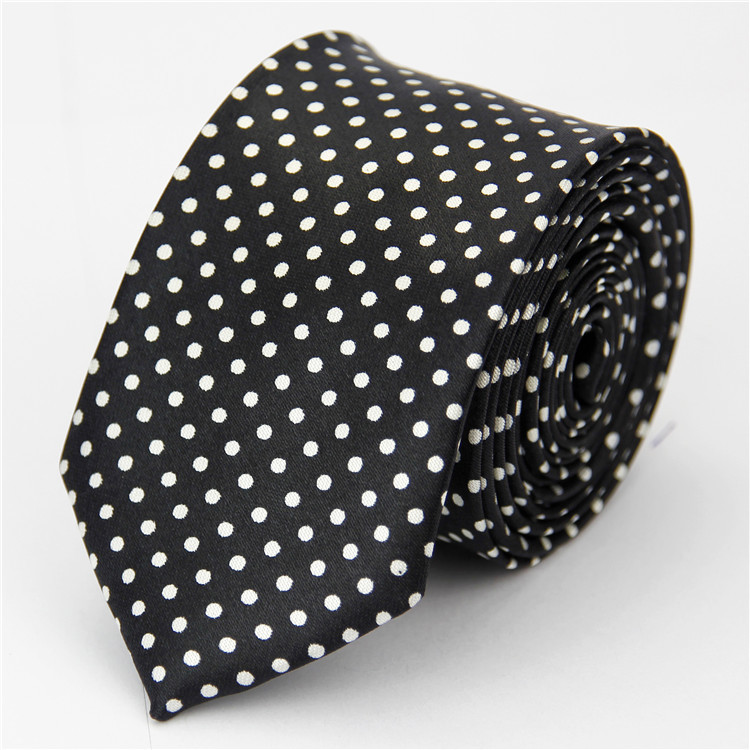 Accessories 2015 New Skinny Tie for Men Polka Dot Pattern Casual Slim Necktie Black White 65[5cm](China (Mainland))
