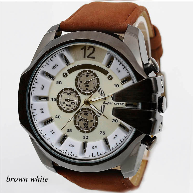 2015 news mens quartz military automatic dress watches Sports and leisure leather band three Colors(China (Mainland))