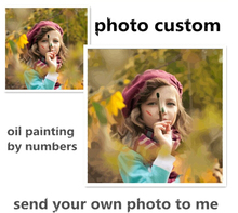 Photo custom make your own diy digital oil painting by numbers picture drawing on canvas portrait wedding family photos (China (Mainland))