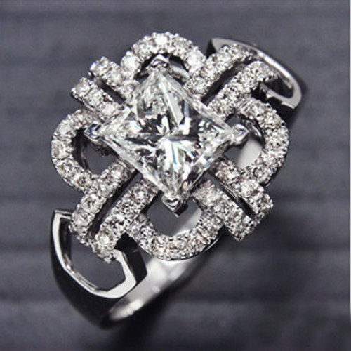 Luxury Princess 1CT SONA Synthetic Diamond Jewelry For Women 925 Sterling Silver Wedding Ring 18K White Gold Plated Jewelry(China (Mainland))