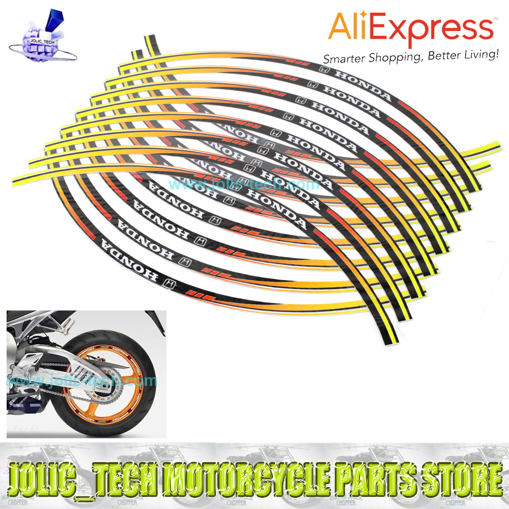 100% Waterproof 16 Strips Wheel Stickers Reflective Rim Stripe Tape for HONDA Motobike Colorful(China (Mainland))