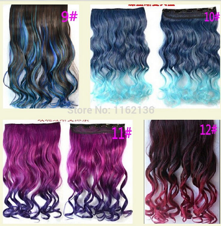 2014 Ladies Girls One Piece Clip on Hairpieces Hair Extensions Curly Wavy Dip Dye Gradient Hair Colored 5 Clips Colorful 10pcs<br><br>Aliexpress