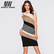 Nordicwinds 2016 autumn plus size women's fashion o-neck short sleeve striped bodycon career dress(China (Mainland))