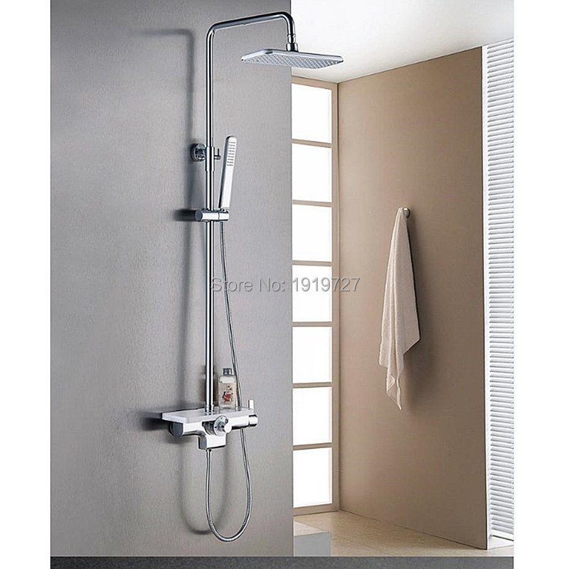 New Arrival 2016 Factory Direct High Quality Luxurious Solid Brass White & Chrome Wall Mounted Bathroom Shower Faucet Set(China (Mainland))