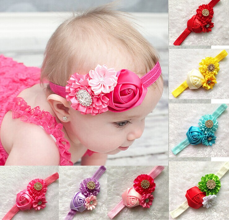 baby girls years 0-3 elastic headband kids chiffon flower hair decoration head wear 12 color - Warmly Family store