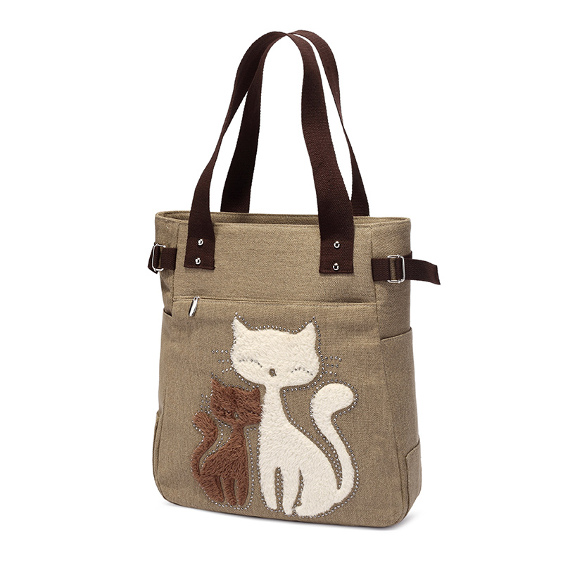 Cute cat women canvas handbag casual shopping bag large lady handbags women feasts shoulder bag bag one head KAUKKO(China (Mainland))