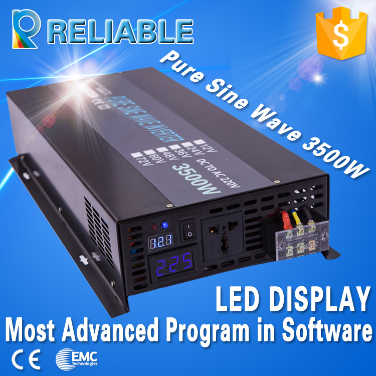 Most Advanced LED Display 3500W PURE SINE WAVE INVERTER (12V/24V/48VDC to 220VAC/120V 7KW/7000W PEAK),DC To AC inverter(China (Mainland))