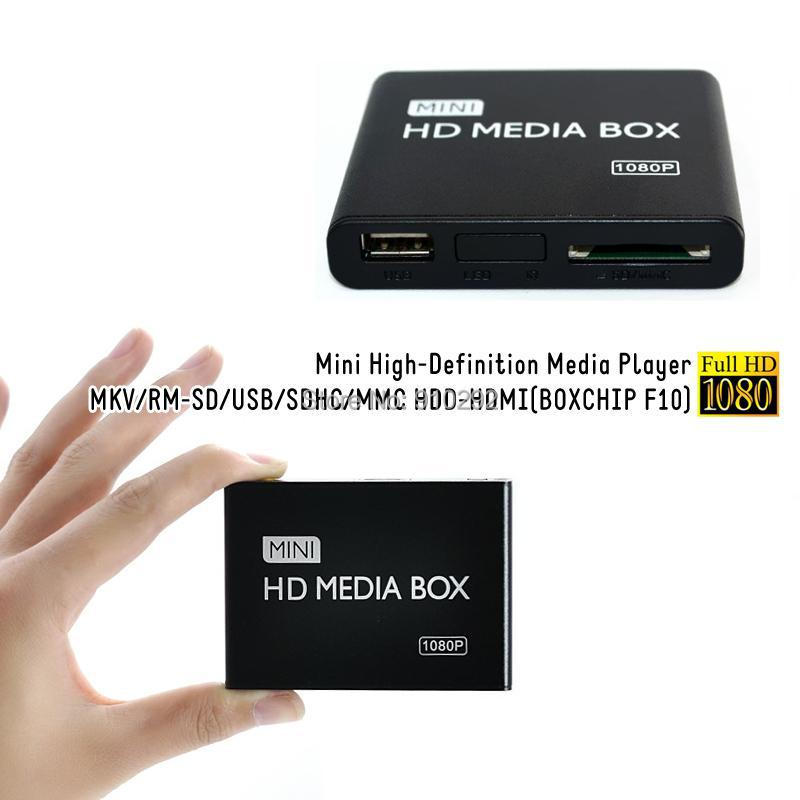 30pcs New mini 1080P Full HD Multimedia HDD Media Player With HDMI Support MKV/RM-SD/USB/SDHC/MMC BOXCHIP F10(China (Mainland))