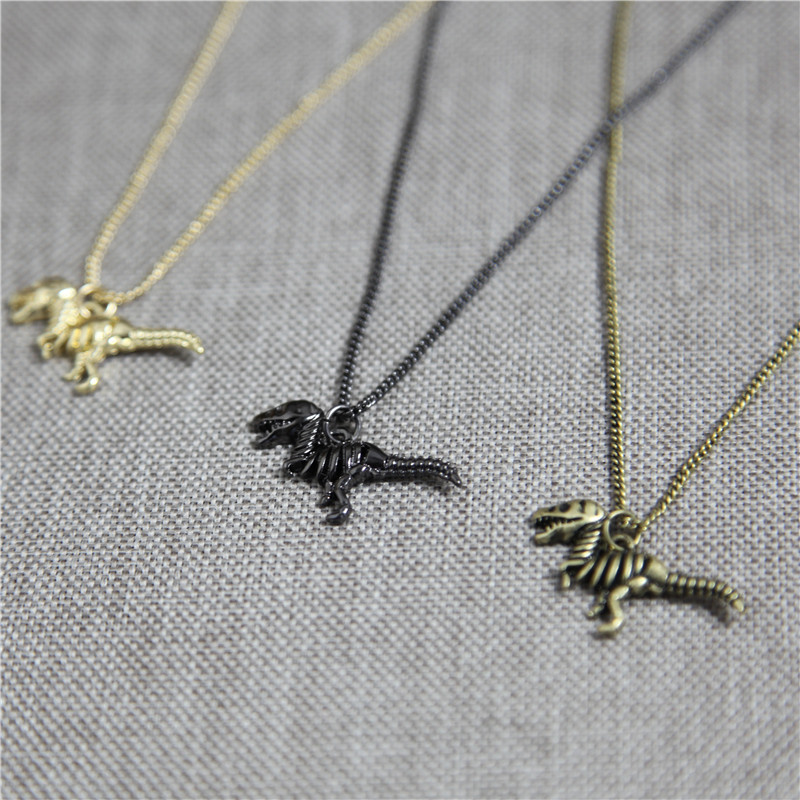 3D pendant necklace Jurassic dinosaur Tyrannosaurus animals necklace long chanin punk cheap necklaces wholesale fashion jewelry(China (Mainland))