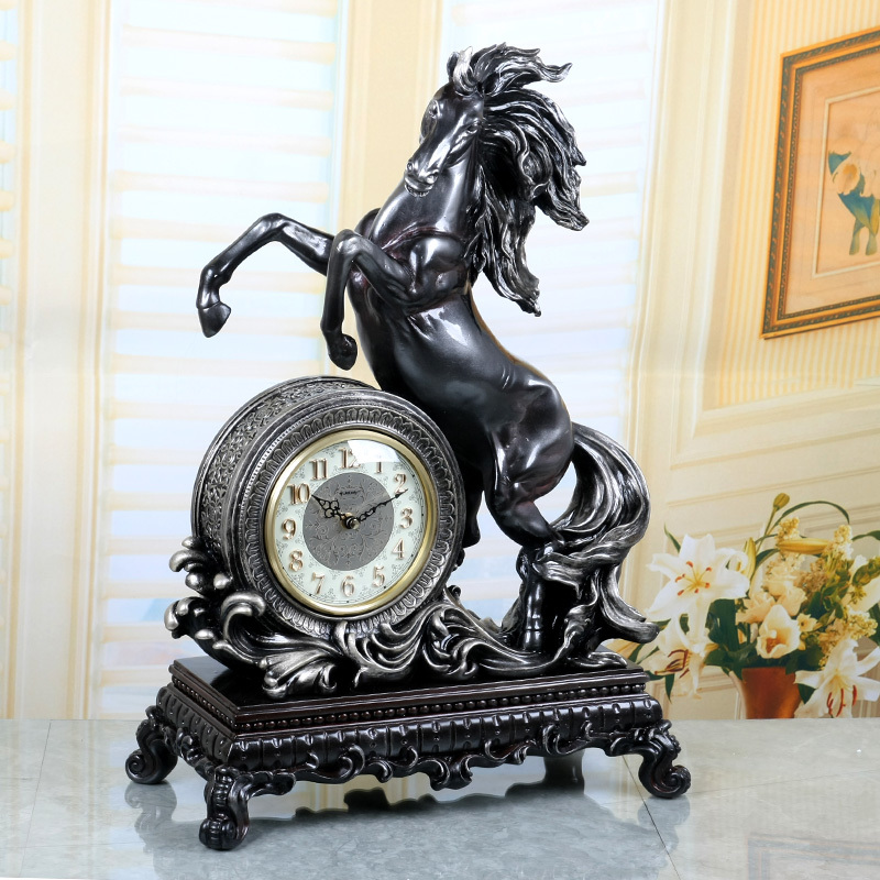 Free shipping horse shape JEBELY Jeb force large European high-grade living room bedroom clock pendulum clock sit mute(China (Mainland))