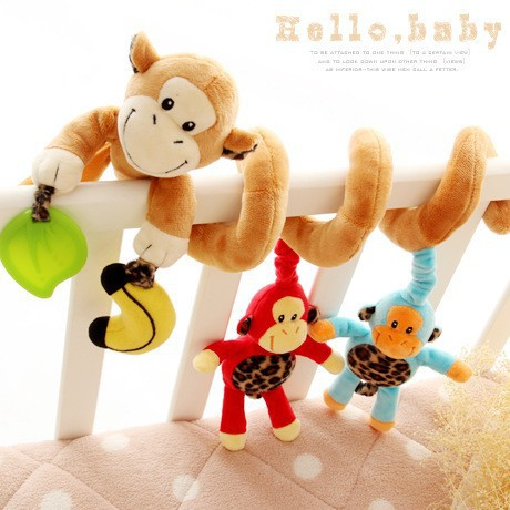 Monkey Multifunctional Car Bed Stroller Hanging Bell Rattles Baby Crib Mobile Baby Bed Music for Children's Gift(China (Mainland))
