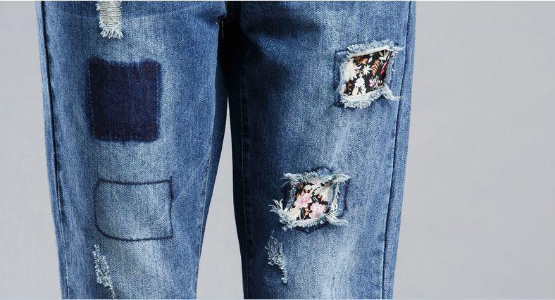 Скидки на Бесплатная доставка бойфренд джинсы для женщин проблемных джинсы разорвал джинсовые свободного покроя брюки с отверстием лоскутное гарем