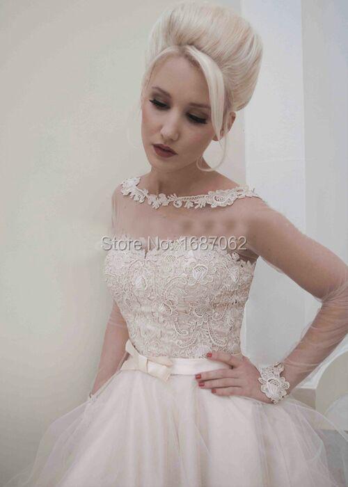 Aliexpress.com Comprar Backless atractivo de manga larga de encaje  vestidos novia corto té de longitud de tul una línea vestido nupcial de  robe de mariage