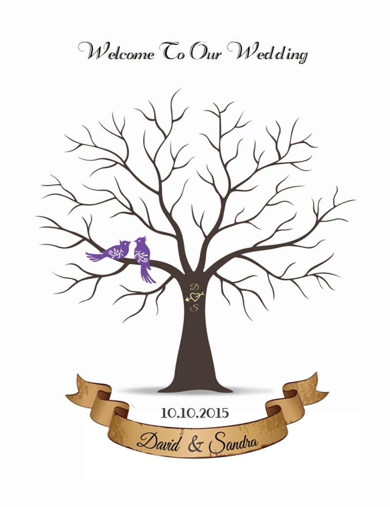 Buy Personalize Canvas Wedding Fingerprint Tree Guest Book ...