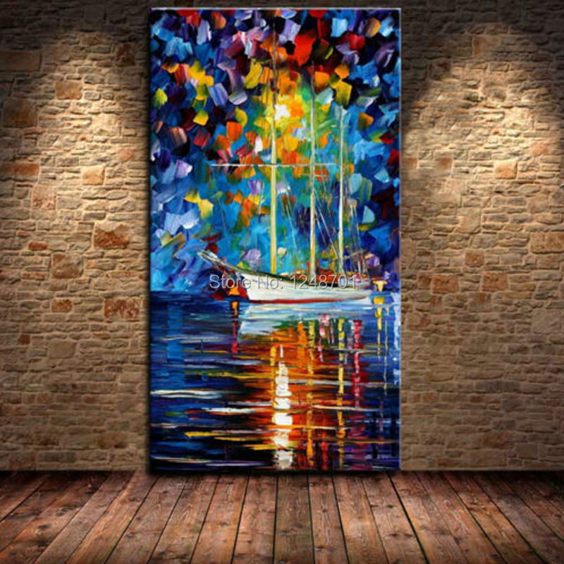 Buy Large Hand Painted Palette Knife Boat on the River Oil Painting Night LampView Painting Home Living Room Wall Decoration Picture cheap