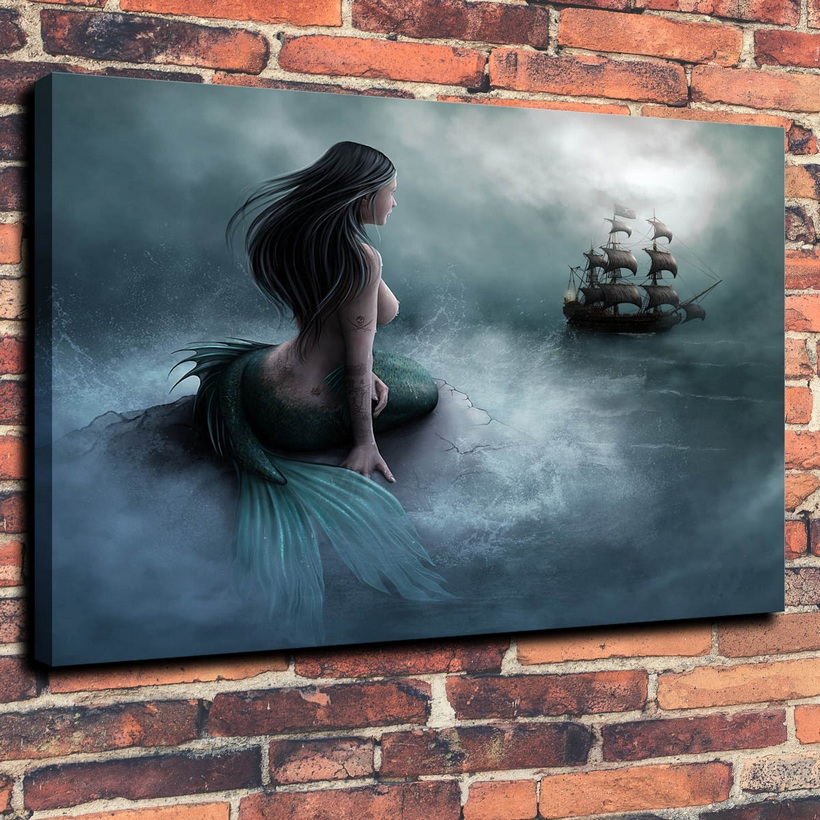 Personalized Canvas Wall Art Oil Painting For Bathroom Wall Decoration For Tumblr Static Mermaid