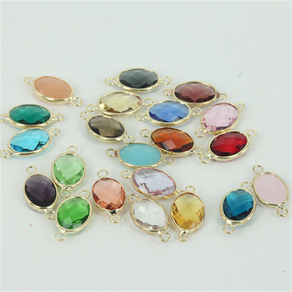 50pcs 10x14mm crystal birthstone double buckle charm for Birthstone beads for jewelry making