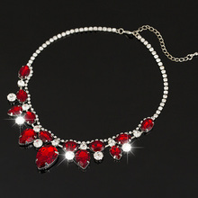 Fashion Oval red Crystal Cord red Pendants  Necklace Lady Evening Jewelry For Women