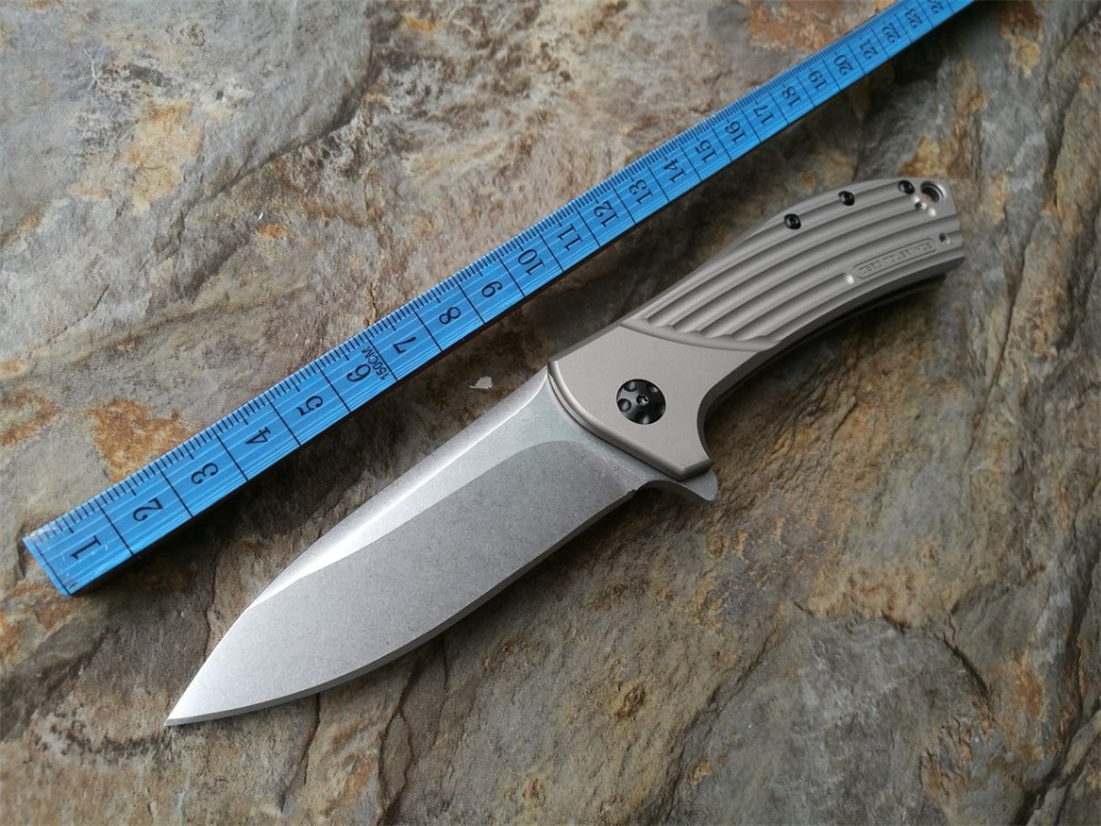 Buy High quality mini folding knife 0801 ELMAX Stone Wash titanium alloy handle Camping Hunting Survival Knives Outdoor Tool OEM cheap