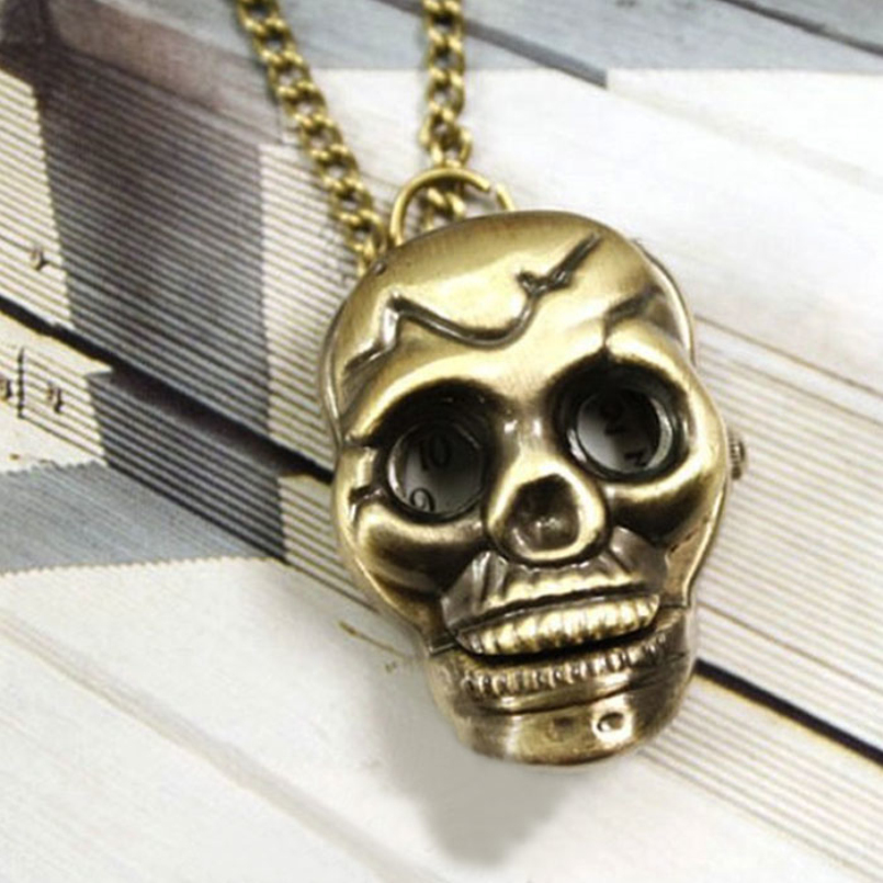 Excellent Quality New Fashion Retro Skull Necklace Pocket Watch Necklace Chain Gift Bronze Pocket Watch Necklace Chain Gift<br><br>Aliexpress
