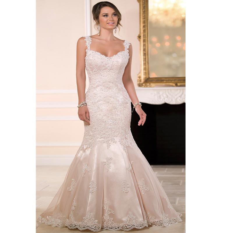 Lace Wedding Dress Stella York : Fashionable white bridal gown lace appliqued vestido de