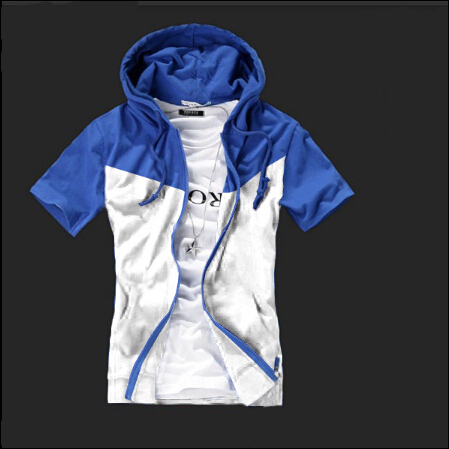 Spring and summer 2015 men short sleeve cardigan lovers fight multicolor fashion casual short-sleeved sweatshirt hoodie(China (Mainland))