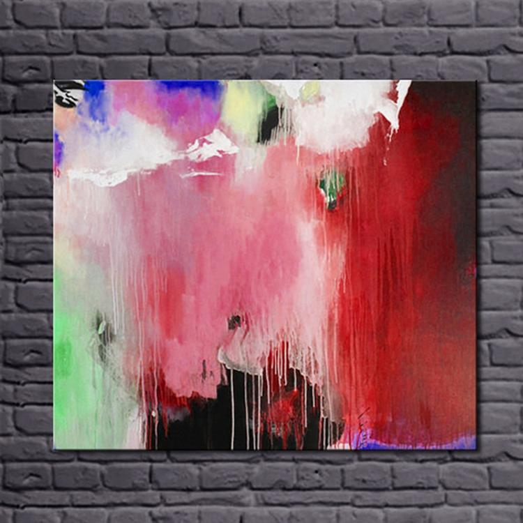 100% Handpainted Colorful Color Simple Abstract Canvas Art Oil Painting Wall Picture for Living Room Decoration(China (Mainland))