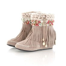 2015 women winter boots Female flowers Pendant boots increased 5cm boots tassel warm student plus size 42 43 ankle boot(China (Mainland))