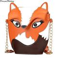 DreamShining Fashion Women PU Leather Handbags Cartoon Bag Owl Fox Shoulder Bags Women Messenger Bags Wallte