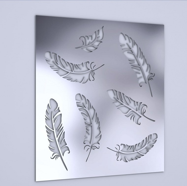 Free Shpping 30*30CM Artistic Cut Out Feather wall sticker 3D Acrylic Mirror Home Decoration(China (Mainland))