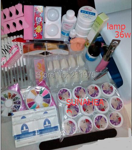 Pro 36W UV GEL Pink / White Lamp & 12 Color UV Gel Nail Art Tool Kits Nail Decortation Sets Nail dryer tool kits free shipping(China (Mainland))