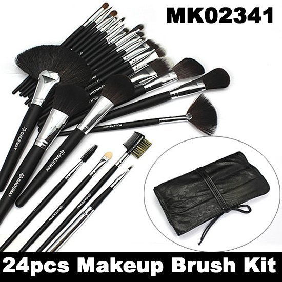 Freeshipping! Pro 24 Pcs Makeup Cosmetic Brush Set with High-quality Soft Hair Brush Head and Black Case MK02341