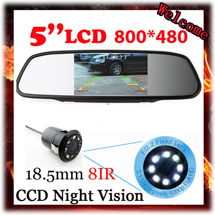 Parking Assist 5 Inch 800*480 Car Display Rear View Monitor 2ch Video Input Backup Reverse Night vision 8 IR LED Rear View Cam(China (Mainland))