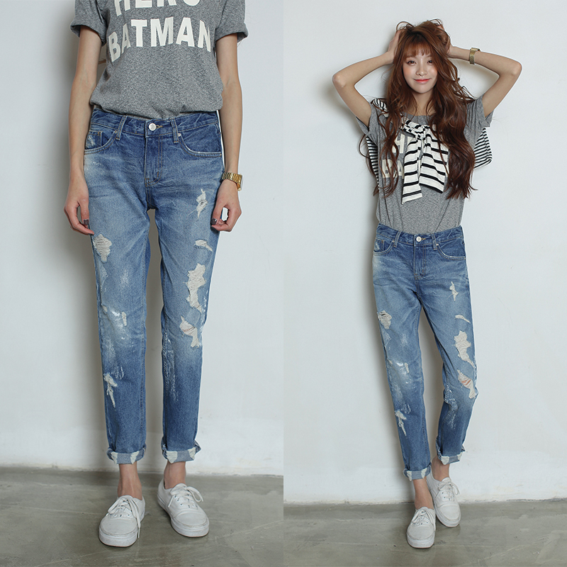 2015 Spring New Fashion Women Loose Cotton Mid Waist Washed Ripped Jeans , Free Sshipping ! - Zero 7s store