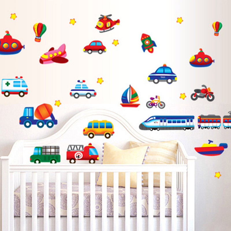 Cartoon car wall decals wallpaper for kids baby room home for Baby room decoration wall stickers
