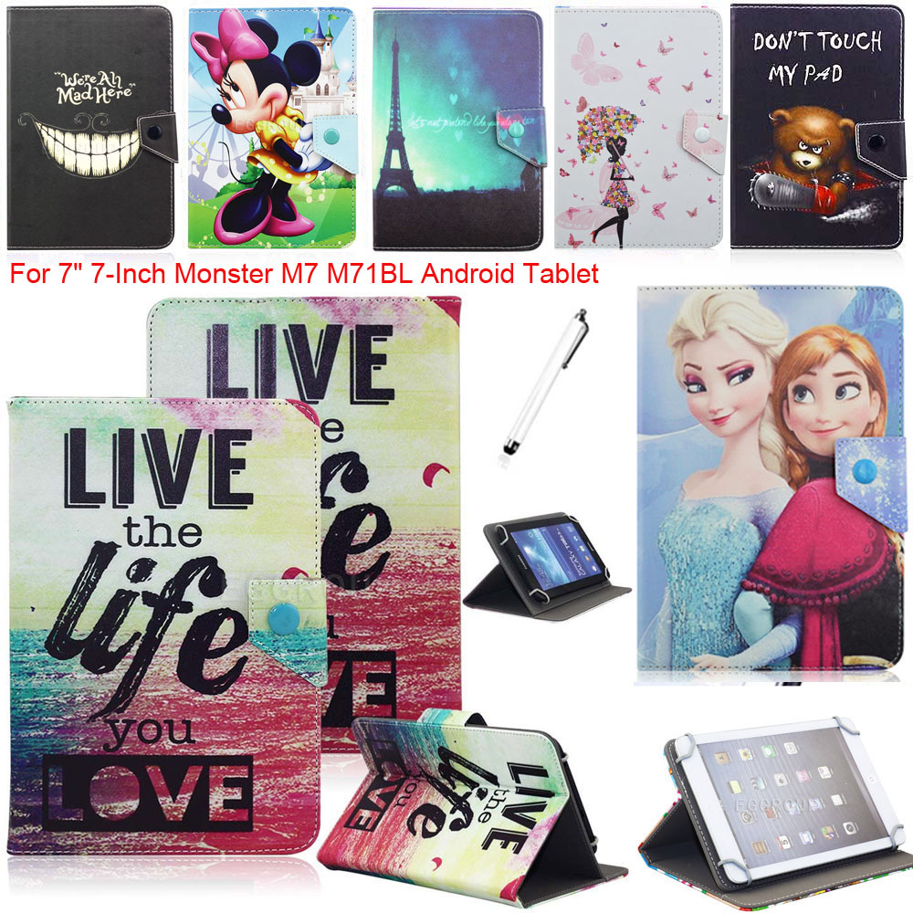 """Congelados Princess Elsa Anna Mickey Minnie Mouse Leather Case Cover For 7"""" 7-Inch for Monster M7 M71BL Android Tablet(China (Mainland))"""