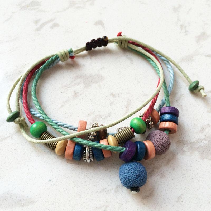 Lava Stone Beads Bracelet Hemp Rope Bangles Bracelets For Women Nature Stone Bracelet Strand Men Bracelets Handmade Jewelry(China (Mainland))