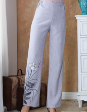 Gray Chinese Women Cotton Linen Trousers Full Length Casual Pants Mid Waist Flare Pant Size M L XL XXL 3XL 4XL 2502-2