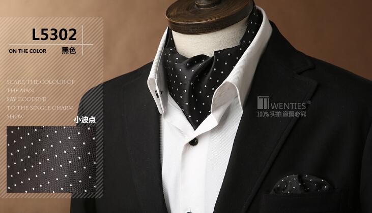 Black Ascot Cravat(Scarf )+Pocket Square 1set/lot L5302 Dot 100% Silk Jacquard Ties - Bo Shop store