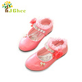 J Ghee 2017 Spring Autumn New Fashion Girls Shoes Patent PU Leather Rhinestone Beading Floral Lace