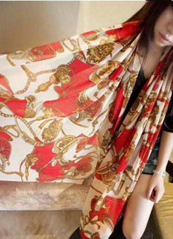 European and American big retro wagon cashmere scarves chiffon scarves chain sunscreen shawl scarf 725206(China (Mainland))
