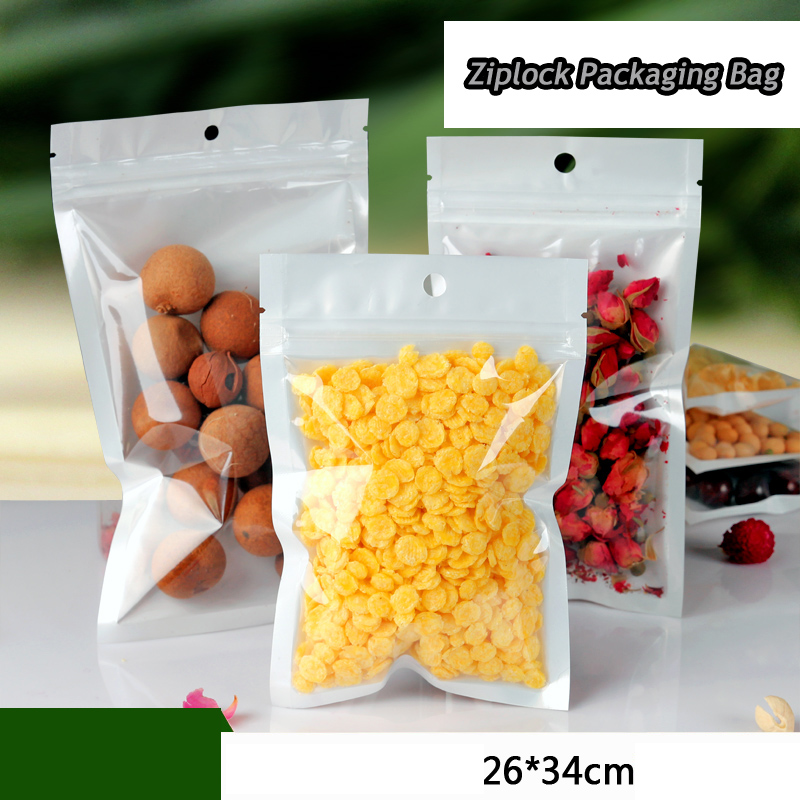 Free Shipping 50pcs/lot 26cm*34cm*160mic High Quality Clear+White Poly Zipper Plastic Bag Clothes Poly Packaging Bag Wholesale(China (Mainland))