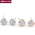 Six Claws 5mm 0.5ct Stellux CZ  Real Rose Gold/Platinum Plated Crystal Stud Earrings Jewelry Wedding Wholesale ZYE036