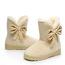 2016 New Arrival Hot Sale Women Boots Solid Bowtie Slip-On Soft Cute Women Snow Boots Round Toe Flat with Winter Shoes#WSZ31(China (Mainland))