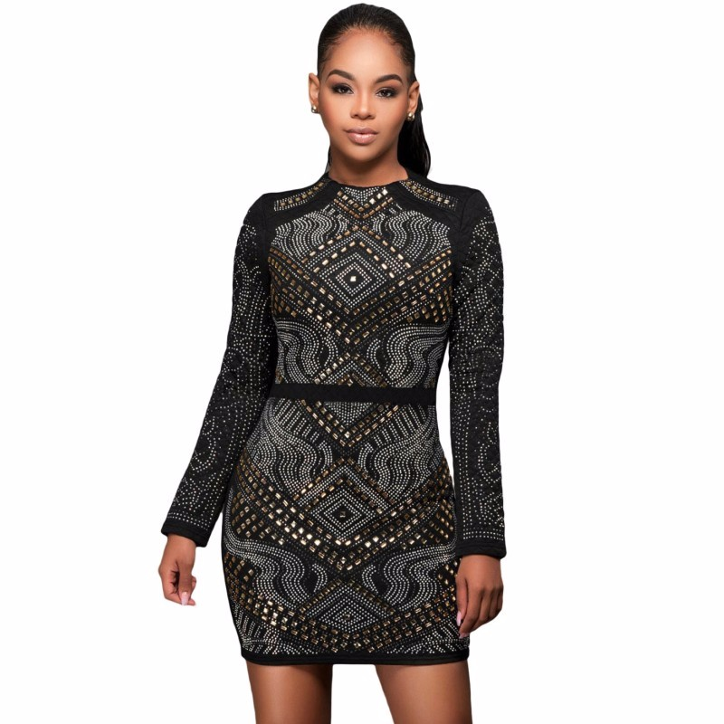 Black-Mini-Jeweled-Quilted-Long-Sleeves-Dress-LC22838-2-1_conew1