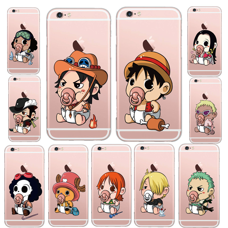 Famous Japanese Cartoon ONE PIECE Pattern Transparent Soft Silicon Cell Phone Case Back Cover For Apple iPhone5S 6 6S Coque Capa(China (Mainland))