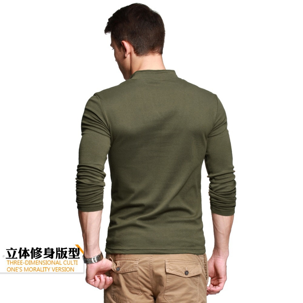 Thick t shirt men 39 s long sleeve brand tee v neck t shirt for Thick v neck t shirts
