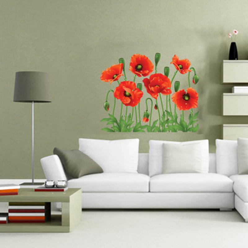 Buy New Diy Home Family Decor Red Flower Removable Decal Room Wall Sticker