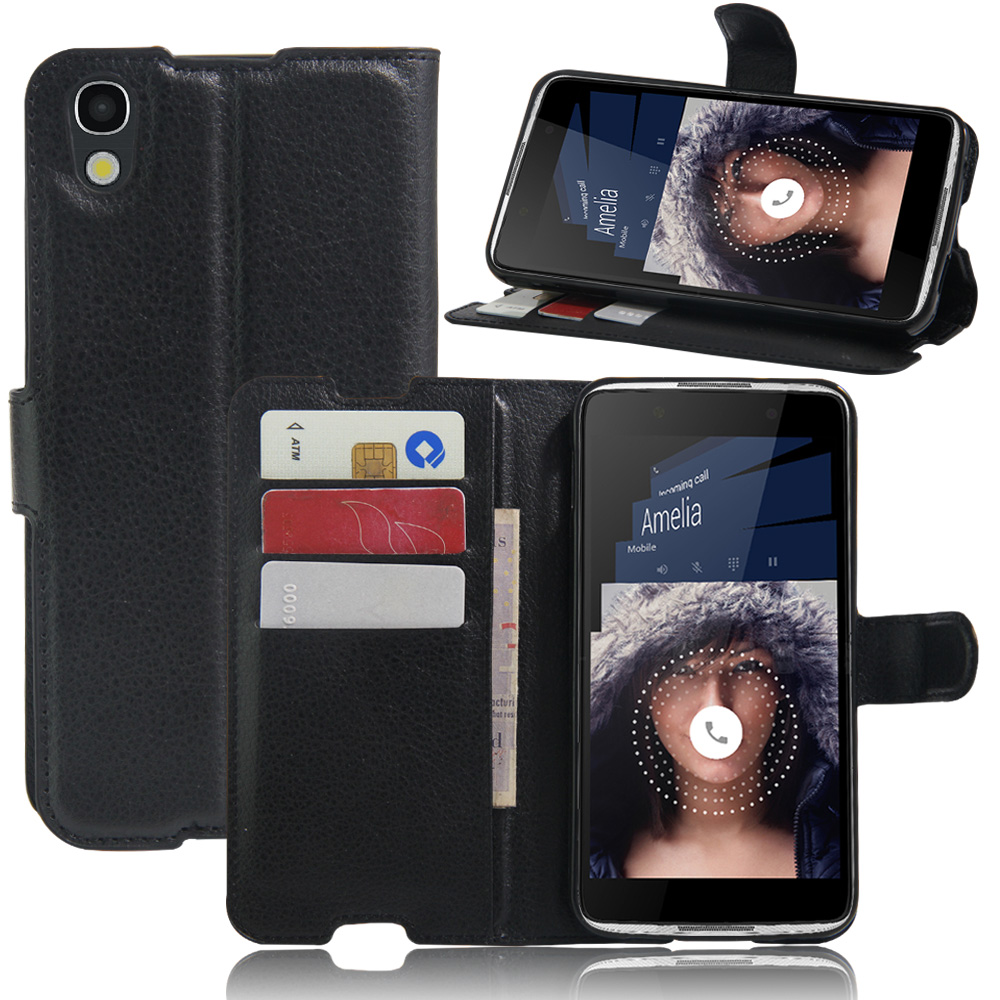 Hot Selling Alcatel One Touch Idol 4 6055 6055B/I/K/Y/H Case Wallet Style Leather Case for TCL idol 4 5.2inch with Card Holder(China (Mainland))